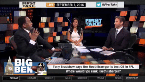 "Jarvis Landry: ""We're going to beat the Patriots. We just are.""  The rest of America outside of Cleveland: https://t.co/vTBI94Rwcf: FIRST  TAKE  LIVE SEPTEMBER 7, 2016  @FirstTake  FIRST  W TAKE  NDIAPERS  BIG  BEN  Terry Bradshaw says Ben Roethlisberger is best QB in NFL  Where would you rank Roethlisberger?  ESPI2  NCAAF  NCAAM  WEEK 1  SOCCER  WNBA  NEWS  MLB Jarvis Landry: ""We're going to beat the Patriots. We just are.""  The rest of America outside of Cleveland: https://t.co/vTBI94Rwcf"