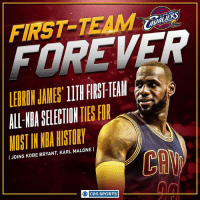 LeBron James is living that FIRST-TEAM life.: FIRST TEAM  IJOINS KOBE BRYANT, KARL MALONE  O CBS SPORTS LeBron James is living that FIRST-TEAM life.