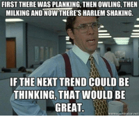 planking: FIRST THERE WAS PLANKING, THEN OWLING, THEN  MILKING AND NOW THERE'S HARLEM SHAKING.  IF THE NEXT TREND COULD BE  THINKING, THAT WOULD BE  GREAT  memegenerator net