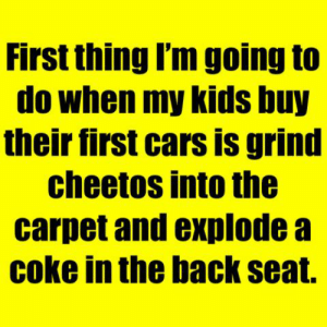 grind: First thing I'm going to  do when my kids buy  their first cars is grind  cheetos into the  carpet and explode a  coke in the back seat.