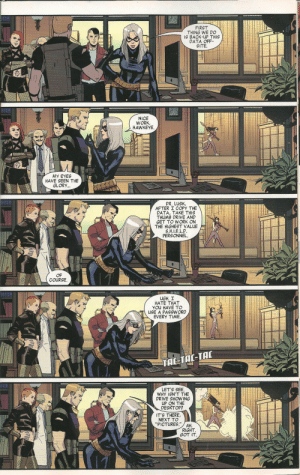 "Phenomenal, Tumblr, and Deadpool: FIRST  THING WE DO  IS BACK-UP THIS  DATA OFF  SITE  NICE  WORK  HAWKEYE  MY EYE  HAVE SEEN THE  GLORY  DR. LUsK  AFTER I COPY THE  DATA, TAKE THISS  THUMB DRIVE AND  GET TO WORK ON  THE HIGHEST VALUE  S.H.IE.L.C  PERSONNEL.  OF  COURSE.  UGH. I  HATE THAT  YOu HAVE TO  USE A PASSWORD  EVERY TIME  LET'S SEE  WHY ISN'T THE  DRIVE SHOWING  UP ON THE  DESKTOP  IT'S THERE  NEXT TO  ""PICTURES.""  AH.  RIGHT  GOT IT softgrungeprophet:this page from Hawkeye vs. Deadpool (2015) is… phenomenal."