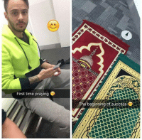 Memes, 🤖, and Brick: First time praying  The beginning of success repost . There were two practicing brothers. One of them quit practicing. People objected to the other man for not cutting him off. . - He replied: this is the time he needs me most. I am kind to him, by his side, making Duaa for him on the hope he finds his way back. . - Wallahi cutting sinners off, abandoning, cursing and looking down upon them is easy! Bring them back to the straight path is the challenge. . - When someone is drowning, don't throw bricks at him while scolding him. Save him first then blame him later if you're want! . My Sc: Abed.alii ▃▃▃▃▃▃▃▃▃▃▃▃▃▃▃▃▃▃▃▃ @abed.alii 📝