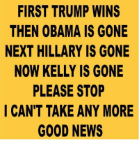 Memes, 🤖, and  Please Stop: FIRST TRUMP WINS  THEN OBAMA IS GONE  NEXT HILLARY IS GONE  NOW KELLY IS GONE  PLEASE STOP  I CAN'T TAKE ANY MORE  GOOD NEWS It's been a great few weeks.