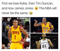 The GOAT James Jones has officially retired 😭😭👀 - Follow @_nbamemes._: First we lose Kobe, then Tim Duncan,  and now James Jones. The NBA will  never be the same.  @一NBAME MES  TAKERS  24  21 The GOAT James Jones has officially retired 😭😭👀 - Follow @_nbamemes._