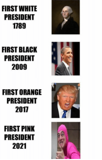 Memes, 🤖, and Pinkly: FIRST WHITE  PRESIDENT  1789  FIRST BLACK  PRESIDENT  2009  FIRST ORANGE  PRESIDENT  2011  FIRST PINK  PRESIDENT  2021