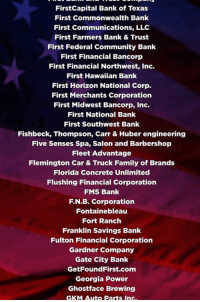 In just six months, more than 600 companies have given out bonuses or pay raises as a result of our HISTORIC tax cuts! We're just getting started!: FirstCapital Bank of Texas  First Commonwealth Bank  First Communications, LLC  First Farmers Bank & Trust  First Federal Community Bank  First Financial Bancorp  First Financial Northwest, Inc.  First Hawaiian Bank  First Horizon National Corp.  First Merchants Corporation  First Midwest Bancorp, Inc.  First National Bank  First Southwest Bank  Fishbeck, Thompson, Carr & Huber engineering  Five Senses Spa, Salon and Barbershop  Fleet Advantage  Flemington Car & Truck Family of Brands  Florida Concrete Unlimited  Flushing Financial Corporation  FMS Bank  F.N.B. Corporation  Fontainebleau  Fort Ranch  Franklin Savings Bank  Fulton Financial Corporation  Gardner Company  Gate City Bank  GetFoundFirst.com  Georgia Power  Ghostface Brewing  GKM Auto Parts Ins In just six months, more than 600 companies have given out bonuses or pay raises as a result of our HISTORIC tax cuts! We're just getting started!