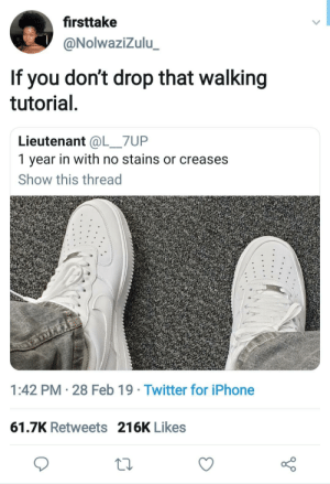 Dank, Iphone, and Memes: firsttake  @NolwaziZulu  If you don't drop that walking  tutorial  Lieutenant @L_7UP  1 year in with no stains or creases  Show this thread  1:42 PM 28 Feb 19 Twitter for iPhone  61.7K Retweets 216K Likes My shit look like that for 4 days. Tops. by kevinowdziej MORE MEMES