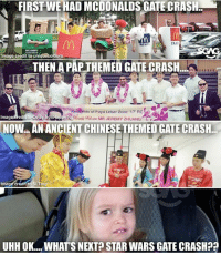 "Really super pattern sia these gate crashes 🤣: FIRSTWE HAD MCDONALDSGATE CRASH  ENJOt  que Colours  mage credit to un  MEI  GATE CRASH  Residents of Paya Lebar Zone 17"" RC  Imag  credit to Cejay IronHappy Ng%%omk  NOW AN ANCIENTCHINESE THEMED GATE CRASH.  Image credit to Si Ting  UHHOK... WHATS NEXT STAR WARS GATE CRASH?? Really super pattern sia these gate crashes 🤣"