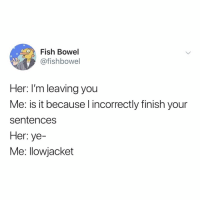 oh no: Fish Bowel  @fishbowel  Her: I'm leaving you  Me: is it because l incorrectly finish your  sentences  Her: ye-  Me: llowjacket oh no