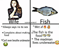 "Af, Dank, and Food: Fish  Wet af 6 d  supreme me mez.v1  Always says no to sex  Complains about makingl .The fish is the  food  The madman  lives underwateroo  Can't even breathe underwaterl <p>Fishes better than women. RESPECT FISHES! via /r/dank_meme <a href=""http://ift.tt/2E20mST"">http://ift.tt/2E20mST</a></p>"