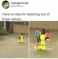 Memes, Office, and Twister: FishingForTruth  @FishBlanc  I have an idea for replacing one of  those statues.  County Sherttr's Office/twister Perhaps 🤔 HurricaneHarvey @pmwhiphop