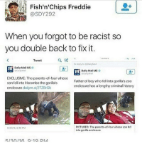 Memes, Daily Mail, and 🤖: Fish'n'chips Freddie  When you forgot to be racist so  you double back to fix it.  Tweet  In reply to Dail Mal  Daily Mail US  Daily Mail US  Mail  GDailyMNM  EXCLUSIVE: The parents of four whose  son fell into Harambethe gorilla's  Father of boy who fell into gorilla's zoo  enclosure dailymai/27ZBrGk  enclosure has a lengthy criminal history  PICTURED: The parents of four whose son fell  6/2010,64 PM  into gorilla enclosure  R 12 n/1A a 1a DNA go follow @blackfeministqueen !!!!! - chee