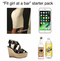 "Tbt: ""Fit girl at a bar"" starter paclk  10: @thegain:z  Titosvepp  Sch  Handmade  TONIC WATER  VODKA Tbt"