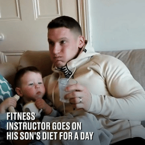 Dank, Hungry, and Diet: FITNESS  INSTRUCTOR GOES ON  HIS SON'S DIET FOR A DAY Fitness instructor Matt swapped his usual high-calorie diet for that of his son Luca. Needless to say, he went pretty hungry 😂  Mattdoesfitness