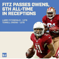 Moving up in the history books, Larry Fitzgerald!: FITZ PASSES OWENS,  6TH ALL TIME  IN RECEPTIONS  LARRY FITZGERALD 1,079  TERRELL OWENS 1,078  CARDINALS  br Moving up in the history books, Larry Fitzgerald!