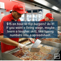 Memes, 🤖, and Down: FIVE C  $15 an hour to flip burgers? As if!  If you want a tiving wage, maybe  learn a tougher skill, like typing  numbers into a spreadsheet.  CA Correction: typing numbers into a spreadsheet while sitting down.