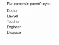 Doctor, Funny, and Lawyer: Five careers in parent's eyes:  Doctor  Lawyer  Teacher  Engineer  Disgrace 😑