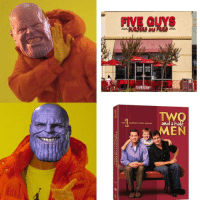 "<p>Now its balanced via /r/memes <a href=""https://ift.tt/2wZ2DMu"">https://ift.tt/2wZ2DMu</a></p>: FIVE GUYS  BURGERS and FRIES  -1  TWO  Band a hal  THE COMPLETE FIRST SEASON  MEN <p>Now its balanced via /r/memes <a href=""https://ift.tt/2wZ2DMu"">https://ift.tt/2wZ2DMu</a></p>"