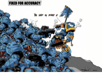 FIXED FOR ACCURACY Look at these puny Space Marines from the Starcraft Universe. Pitiful! Our Brother took them all out by himself. OH NOES! They messed up his flag. We must band together and hurt them all!