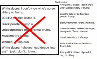 (GC): Fixed version  Average U.S. citizen: l don't know  White dudes: I don't know who's worse  who's worse: Hillary or Trump  Hillary or Trump.  Bake the cake or go to prison  people: Trump.  LGBTQ  le: Trump is  Black Lives Matter rioters: Trump is.  Black people  mp is  Undocumented, that means illegal,  Undocumented i  rants: Trump.  immigrants: Trump is worse.  Muslims: It's  Pamp.  Islamic terrorists: It's Trump  Women  mp duh  Social Justice Warrior Feminists:  White dudes  shoves head deeper into  Trump duh.  ass* I just... don't... know.  Average U.S. citizen: lfigured it  out, it's Hillary. (GC)
