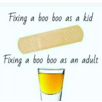 Oh how things change as you get older.: Fixing a boo boo as a kid  Fixing a boo boo as an adult Oh how things change as you get older.
