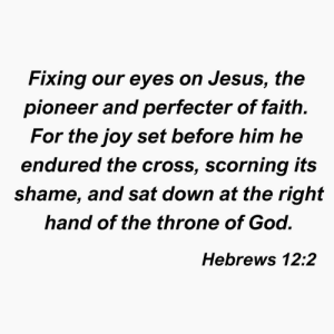 pioneer: Fixing our eyes on Jesus, the  pioneer and perfecter of faith.  For the joy set before him he  endured the cross, scorning its  shame, and sat down at the right  hand of the throne of God.  Hebrews 12:2