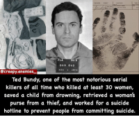 Awh :3 - - Do y'all like these serial killer facts? - - - horror creepy scary dead serialkiller fact funfact creepyfact didyouknow creepyenemies tedbundy: FL  DOR  069 063  Creepy enemies  Ted Bundy, one of the most notorious serial  killers of all time who killed at least 30 women  saved a child from drowning, retrieved a woman's  purse from a thief, and worked for a suicide  hotline to prevent people from committing suicide. Awh :3 - - Do y'all like these serial killer facts? - - - horror creepy scary dead serialkiller fact funfact creepyfact didyouknow creepyenemies tedbundy