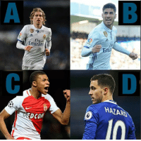 Who will be the new RealMadrid number 10 now that James Rodriguez is leaving? A) Modric B) Asensio C) Mbappe D) Hazard: Fl  Emirate  HAZARD  EDCO  EDCOM Who will be the new RealMadrid number 10 now that James Rodriguez is leaving? A) Modric B) Asensio C) Mbappe D) Hazard