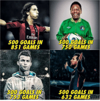 Goals, Memes, and Emirates: Fl  Emirates  500 GOALS IN  851 GAMES  500 GOALS IN  750 GAMES  500 GOALS IN  753 GAMES  500 GOALS IN  632 GAMES Messi in a nutshell 🤴🏻
