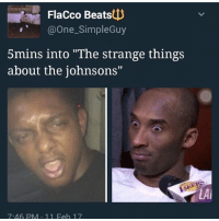 """Memes, 🤖, and Flacco: Flacco Beats  One SimpleGuy  5mins into """"The strange things  about the johnsons  7.46 PM 11 Feb 17 It was 30 SECONDS IN"""