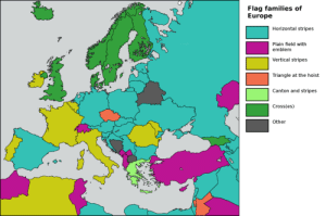 mapsontheweb:  Flag families of Europe.: Flag families of  Europe  Horizontal stripes  Plain field withh  emblem  Vertical stripes  Triangle at the hoist  Canton and stripes  Cross(es)  da  Other  S3 mapsontheweb:  Flag families of Europe.