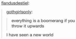 World, Boomerang, and New World: flandusdestiel  gothgirlsonly:  everything is a boomerang if you  throw it upwards  I have seen a new world I feel enlightened