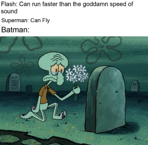 Dropping a major F.: Flash: Can run faster than the goddamn speed of  sound  Superman: Can Fly  Batman:  RIP  RIT Dropping a major F.