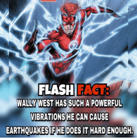 Batman, Memes, and Earthquake: FLASH  WALLY WEST HAS SUCH A POWERFUL  VIBRATIONS HE CAN CAUSE  EARTHQUAKES HE DOES IT HARD ENOUGH, dc dccomics dceu dcu dcrebirth dcnation dcextendeduniverse batman superman manofsteel thedarkknight wonderwoman justiceleague cyborg aquaman martianmanhunter greenlantern theflash greenarrow suicidesquad thejoker harleyquinn comics injusticegodsamongus
