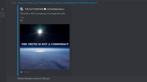 Flat earther posts an image with a curve: Flat earther posts an image with a curve