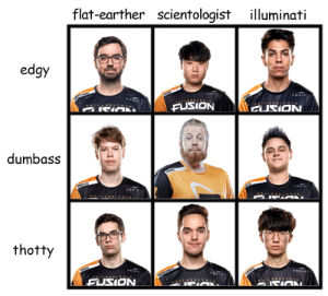pleaseplayfragi:template from @lunatic-bye: flat-earther scientologist illuminati  edgy  FUSION  dumbass  thotty  FUSION pleaseplayfragi:template from @lunatic-bye