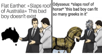 """Bad, Memes, and Control: Flat Earther: Slaps roof Odysseus: *slaps roof of  of Australia This bad horse* this bad boy can fit  boy doesn't exis  so many greeks in it"""" <p>'Slaps Roof Of Car' Memes Are Officially Out Of Control</p>"""
