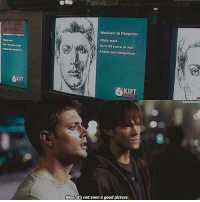 """Memes, Good, and Supernatural: FLAT SEBEEN  Manhunt In Progross  Whlte malo  24 to 30 years of age  Armed and dangerous  24to years otego  d Cangprous  KIFT  KIFT  SAVINGDEAN  Man,it's not even a good picture. DEAN LOOKS SO GOOD HERE I CANT - Write """"Man that's"""" and press the right word suggestion button 🍁 - [ spn jaredpadalecki jensenackles deanwinchester samwinchester supernatural spnfamily ]"""