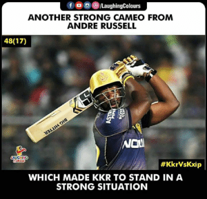 #KKRvKXIP #AndreRussell #IPL: fLaughingColours  ANOTHER STRONG CAMEO FROM  ANDRE RUSSELL  48(17)  Nol  #KkrVsKxip  WHICH MADE KKR TO STAND IN A  STRONG SITUATION #KKRvKXIP #AndreRussell #IPL