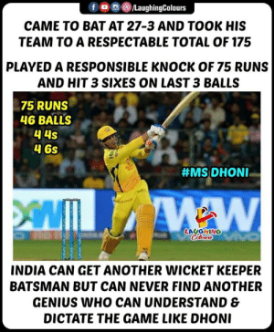 #MSDhoni #RRvCSK #IPL: fLaughingColours  CAME TO BAT AT 27-3 AND TOOK HIS  TEAM TO A RESPECTABLE TOTAL OF 175  PLAYED A RESPONSIBLE KNOCK OF 75 RUNS  AND HIT 3 SIXES ON LAST 3 BALLS  75 RUNS  46 BALLS  4 6s  #MS: DHONI-  LAUGHING  INDIA CAN GET ANOTHER WICKET KEEPER  BATSMAN BUT CAN NEVER FIND ANOTHER  GENIUS WHO CAN UNDERSTAND &  DICTATE THE GAME LIKE DHON #MSDhoni #RRvCSK #IPL