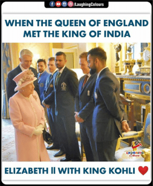 #ViratKohli #QueenElizabethll #India #CWC2019: fLaughingColours  WHEN THE QUEEN OF ENGLAND  MET THE KING OF INDIA  LAUGHING  ELIZABETH II WITH KING KOHLI #ViratKohli #QueenElizabethll #India #CWC2019