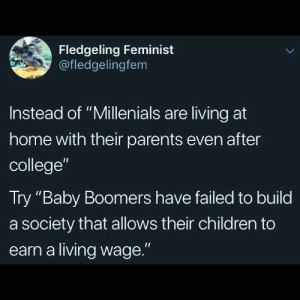 "millenials: Fledgeling Feminist  @fledgelingfem  Instead of ""Millenials are living at  home with their parents even after  college""  Try ""Baby Boomers have failed to build  a society that allows their children to  earn a living wage."""