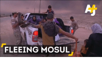 Family, Memes, and 🤖: FLEEING MOSUL As the battle for Mosul rages on, some families have to walk for hours to reach safety.