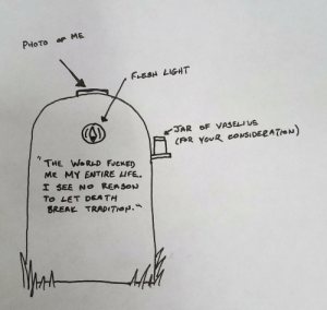 Break, Rough, and Idea: FLESH LIGHT  THE WoRAD FJeKED  ME MY ENTIRE HFE.  To LET DEA TH  BREAK TRADITHON. I had an idea for my headstone. Here is a rough sketch.