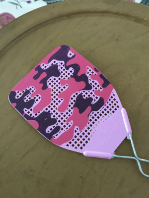 Fashion, Love, and Pink: Flies love this fashion swatter. Pink camo design blocks the necessary perforations, thus blocking the flow of air and impeding swatting speed allowing time for the fly to escape. Brilliant from a fly's point of view.