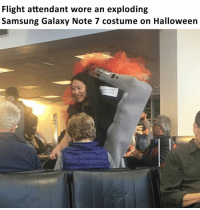 Dank, Halloween, and Savage: Flight attendant wore an exploding  Samsung Galaxy Note 7 costume on Halloween she's a savage for this