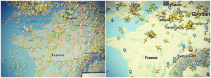 Flight map on 13th March and 25th March.: Flight map on 13th March and 25th March.