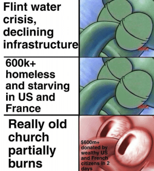 We live in an meme gronp: Flint water  crisis  declining  infrastructure  600k+  homeless  and starving  in US and  France  Really old  church  $600m+  donated by  wealthy US  and French  partially  burns  citizens in 2  Cl  days We live in an meme gronp