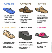 Sole searching (By @maritsapatrinos) . . . tagyourself solesister flipflop tiptaps shoes style2018 webcomic: FLiP FLOPS  TiP TAPS  BREAKS AFTER  THREE USES  . DİNNER'S ON  THE TABLE  FOR RUGGED  BEACHFOLK AND  SUBURBAN TEENS  COME ON DOWN  GOOD FOR  THROWİNG  . NO NONSENSE  BUCKLE  STRİP STRAPS  FOOT SPONGE  FAB FOBS  THESE FEET AiN'T  GOiN' ANYWHERE  . BLACK LiKE MY SOU  NOT QUITE BARE  MiNiMUM  ARE YOU NOT  ENTERTAINED  BETNEEN TOE  COULDN'T KILL A  COCKROACH  BANDANA Sole searching (By @maritsapatrinos) . . . tagyourself solesister flipflop tiptaps shoes style2018 webcomic
