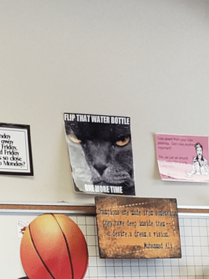 Teacher memes are 10/10: FLIP THAT WATER BOTTLE  Frida  d Frida  Monday?  ONEMORETIME  ray hare deey inside the  desire,a dreas.a rision Teacher memes are 10/10